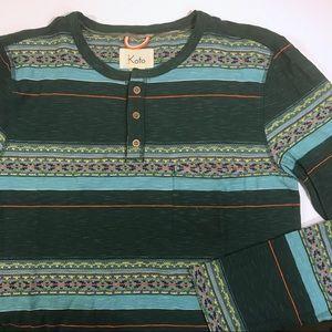 Koto Long Sleeve Striped Henley Shirt Medium